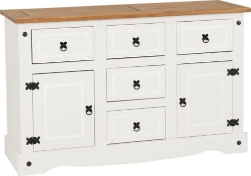 Corin 5 Drawer Sideboard, White
