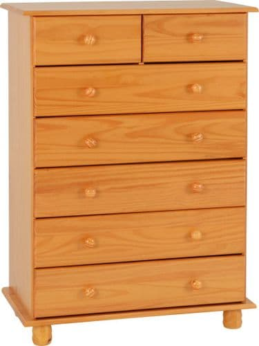 Heirloom Pine 7 Drawer Chest of Drawers