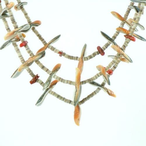 Bird Fetish Heishi Necklace with Coral Chunks