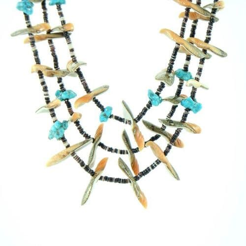 Bird Fetish Heishi Necklace with Turquoise Nuggets