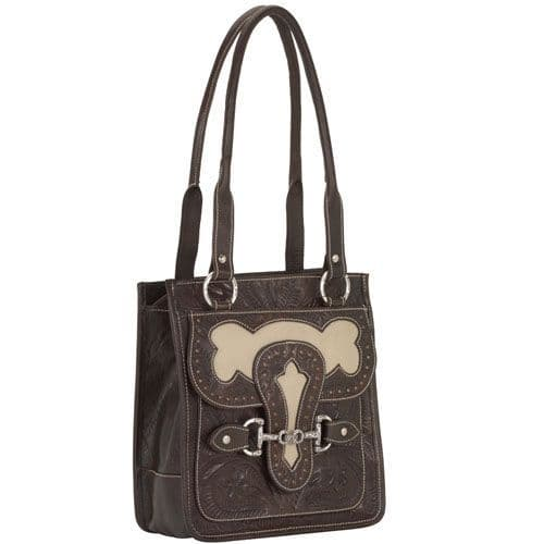 Brown and Cream Leather Tote