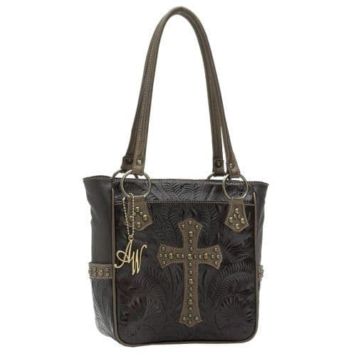 Brown and Gold Leather Tote