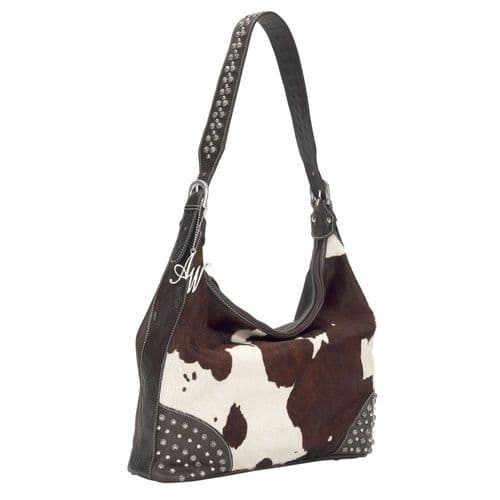 Brown and White Cowhide Slouch Hobo