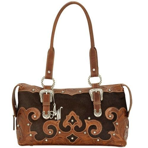 Brown Cowhide Leather East West Tote