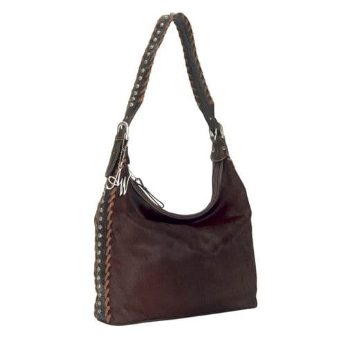 Brown Cowhide Leather Hobo