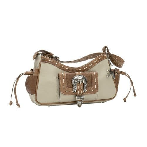 Cream Leather Three Compartment Shoulder Bag