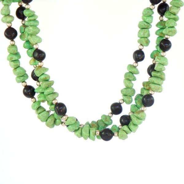 Green Turquoise and Jet Necklace with Silver Beads