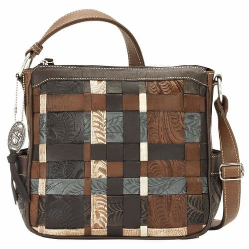 Hand Woven Panelled Leather Crossbody Bag