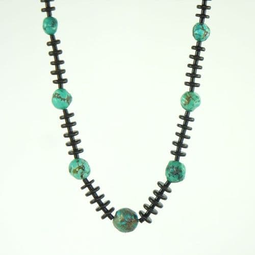 Jet and Kingman Turquoise Necklace