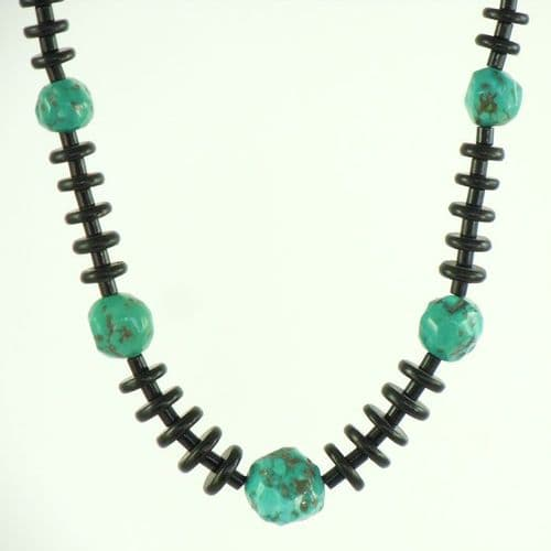 Jet and Turquoise Gumball Necklace