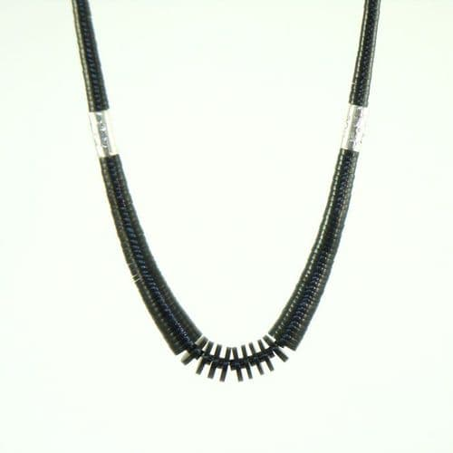 Jet Necklace with Sterling Silver Drums