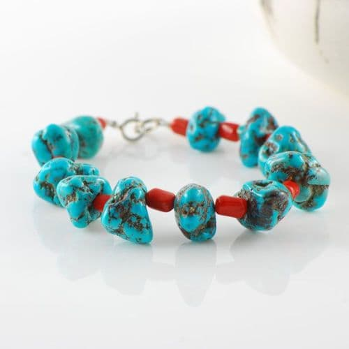 Kingman Turquoise and Natural Coral Bracelet