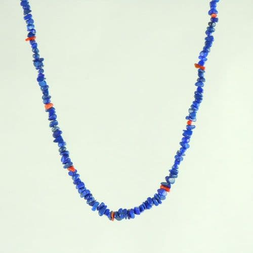 Lapis Lazuli and Coral Chunk Necklace
