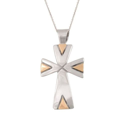 Large Sterling Silver and Gold Cross Patte