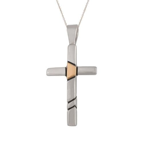 Medium Sterling Silver and Gold Inlay Cross