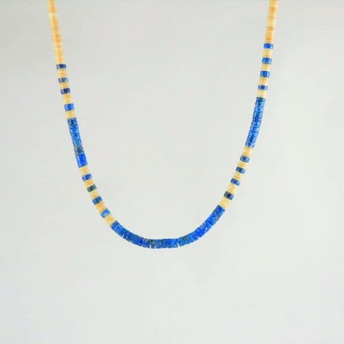 Melon Shell and Lapis Heishi Necklace