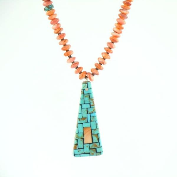 Melon Shell Necklace with Mosaic Inlay Pendant