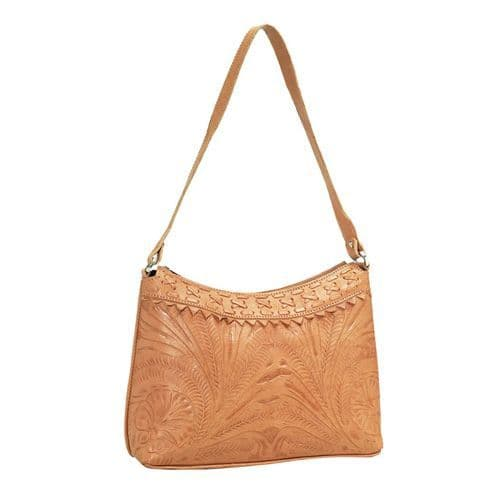 Natural Leather Cross-Laced Hobo