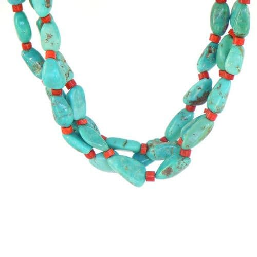 Nevada Turquoise and Apple Coral Heishi Necklace