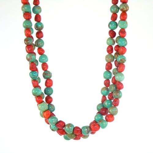 Nevada Turquoise and Apple Coral Necklace