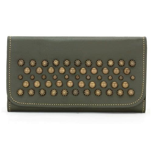 Olive Green Leather Ladies Tri-Fold Wallet