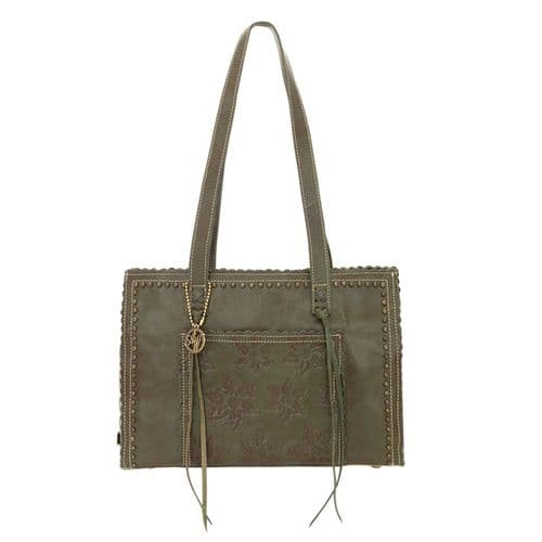 Olive Green Leather Shopper Tote