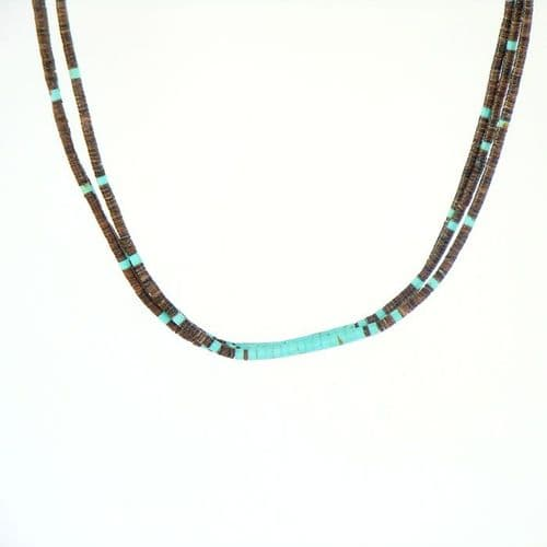 Olive Shell and Kingman Turquoise Heishi Necklace