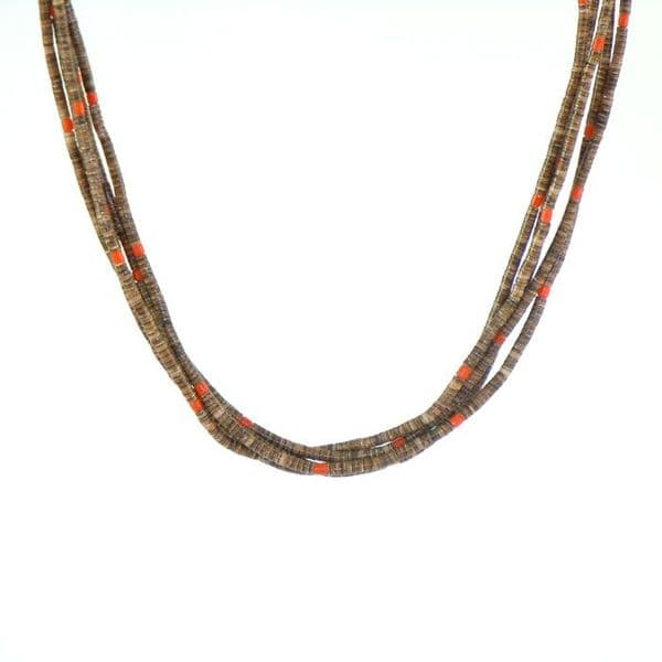 Olive Shell and Old Natural Coral Heishi Necklace