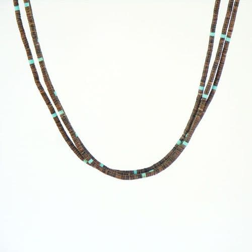 Olive Shell and Turquoise Heishi Necklace