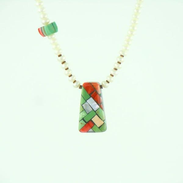 Pearl Bead Necklace with Mosaic Inlay Pendant