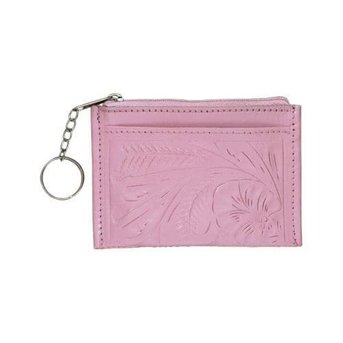 Pink Leather Keychain Purse