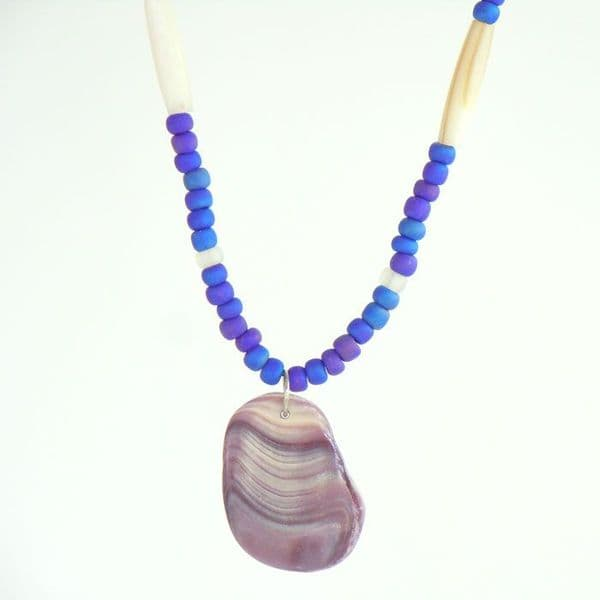 Quahog Shell and Glass Seed Bead Necklace