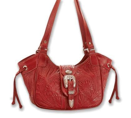 Ruby Red Leather Tote Bag
