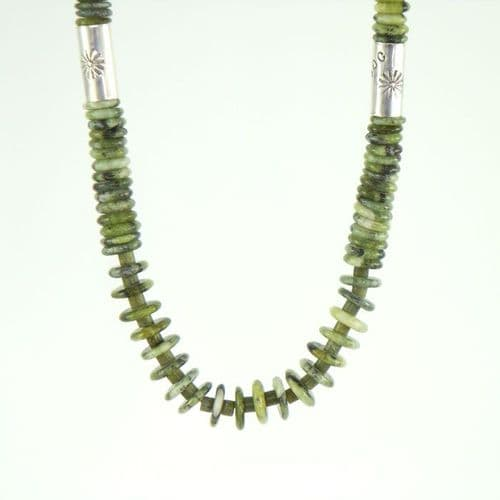 Serpentine Necklace with Sterling Silver Drums