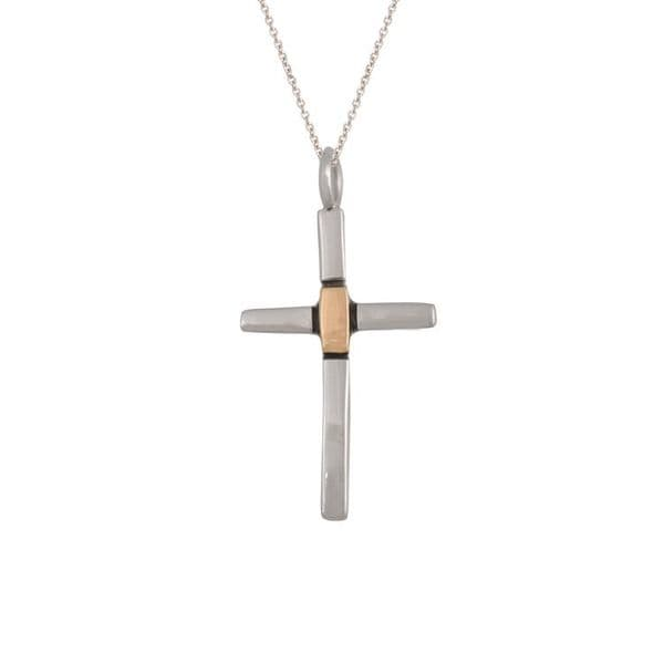 Small Sterling Silver and Gold Cross