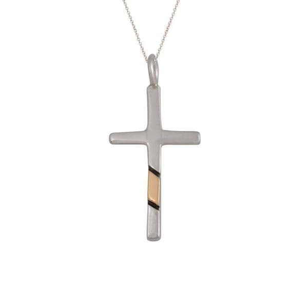 Small Sterling Silver and Gold Inlay Cross
