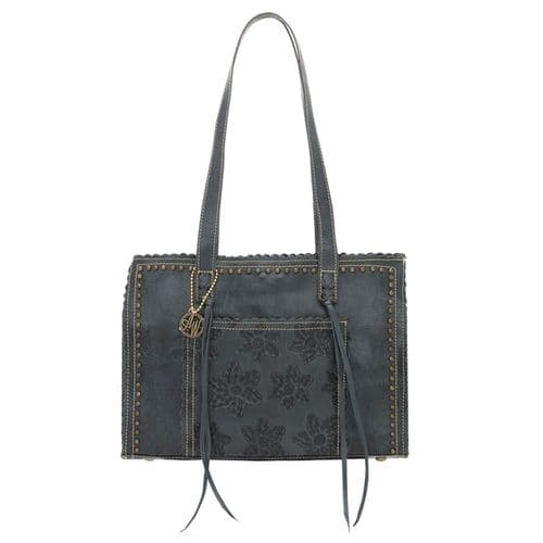 Steel Blue Leather Shopper Tote