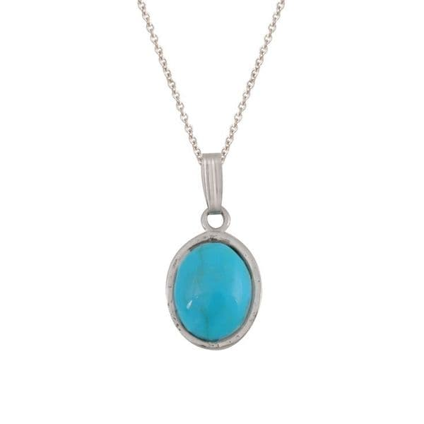 Sterling Silver and Blue Turquoise Oval Pendant