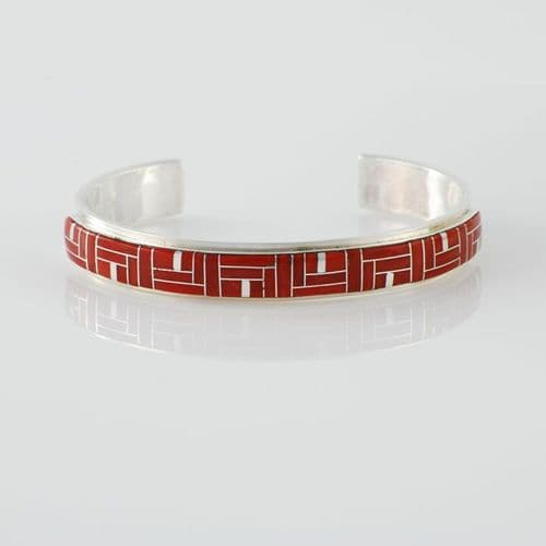 Sterling Silver and Coral Inlay Bracelet
