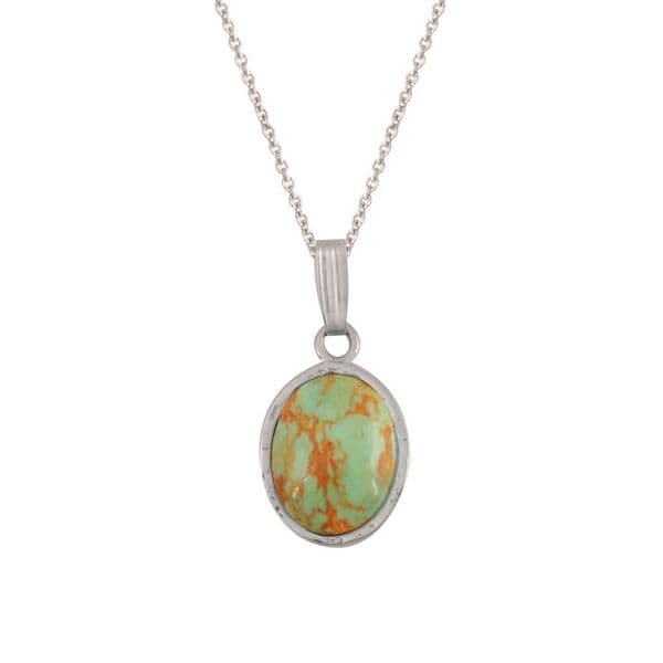 Sterling Silver and Green Turquoise Oval Pendant