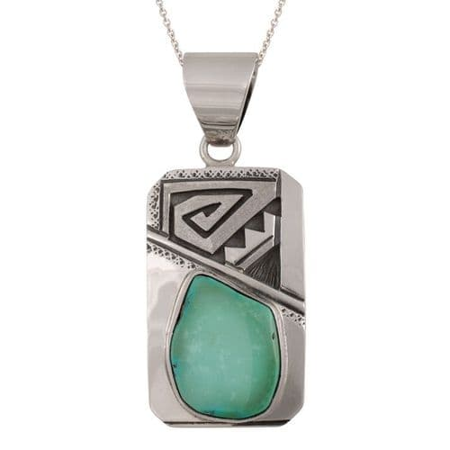 Sterling Silver and Green Turquoise Pendant