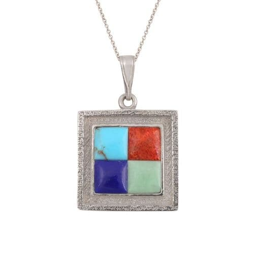Sterling Silver and Lapis Square Pendant