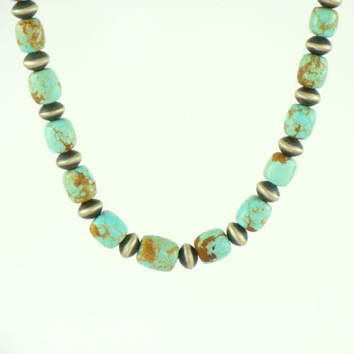 Sterling Silver and No.8 Turquoise Bead Necklace