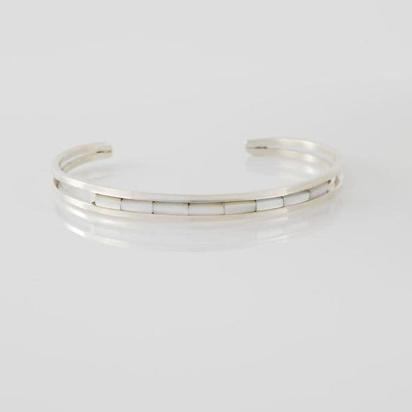 Sterling Silver and Opal Channel Inlay Bracelet