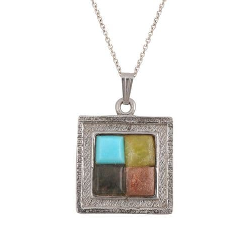 Sterling Silver and Peridot Square Pendant