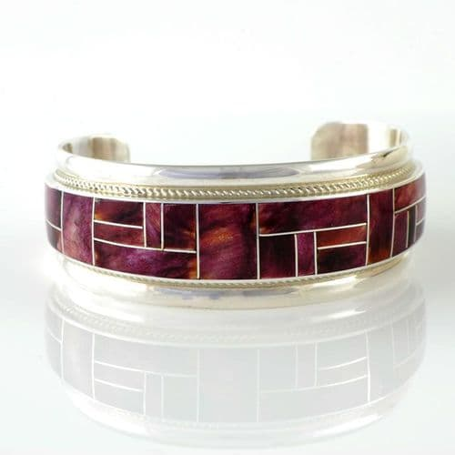 Sterling Silver and Spiny Oyster Inlay Bracelet