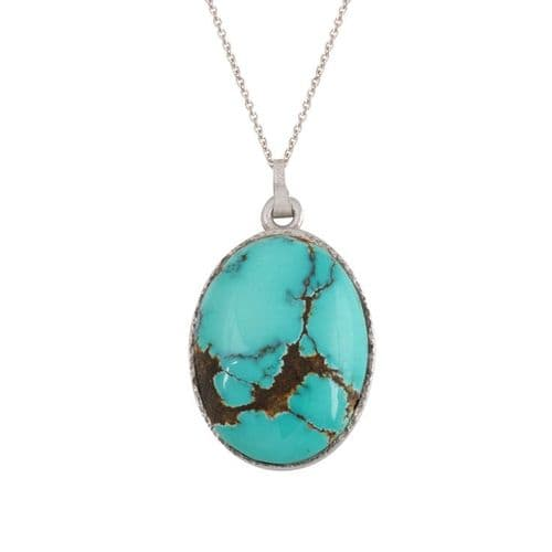 Sterling Silver and Turquoise Oval Pendant