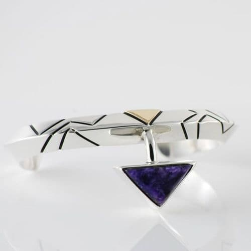 Sterling Silver, Gold and Charoite Bracelet