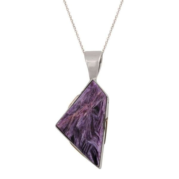 Sterling Silver Gold and Charoite Pendant