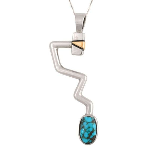 Sterling Silver Gold and Turquoise Pendant